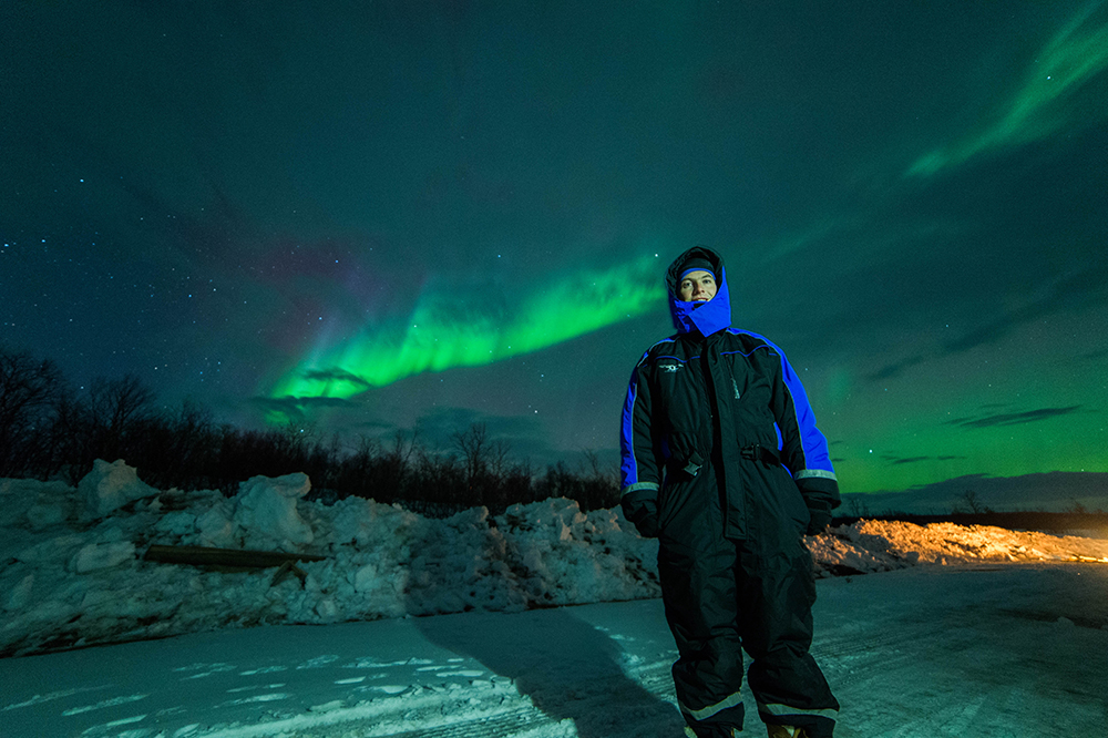 Me with the Northern Lights in the background